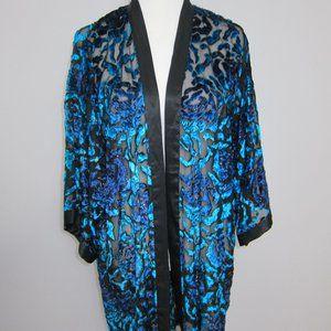 Drapers & Damons Open Kimono Robe Black Blue Sheer Rayon Silk L Floral Sparkly